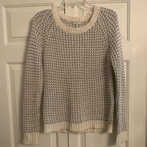 Joie Cream, Silver and Silver Sequin Knit Sweater